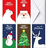60Pcs Christmas Gift Card Money Holder in 5 Holiday Cute Festive Designs 30 Christmas Greeting Cards & 30 Envelopes