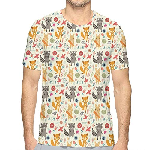 Mens 3D Printed T Shirts,Cute Pattern with Raccoon Rabbit and Fox Colorful Fantasy Nature Forest Life L