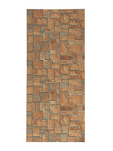 "All Design Mats AQ584-01-2x4 Cushioned Non-Slip/Rubber, Backing 3D Stone Print Aqua Runner/Doormat, 26"" W x 48"" L, Orange/Brown (Easy Cut to Fit in Your Hallway, Bathroom, or Kitchen)"
