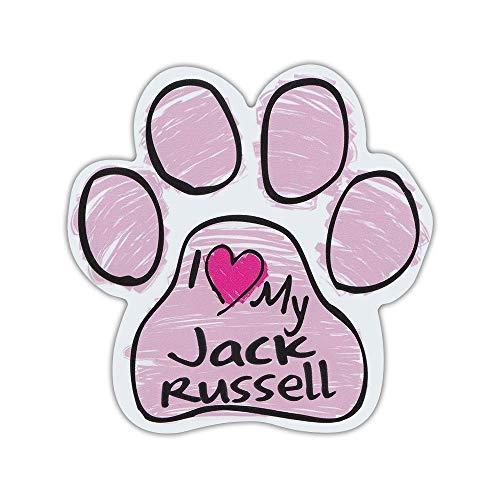 Lplpol Imán con forma de pata de perro de garabato rosa – I Love My Jack Russell (Terrier) – Coches, camiones, SUV, frigoríficos, etc. – Adhesivo magnético para parachoques de 15,24 cm