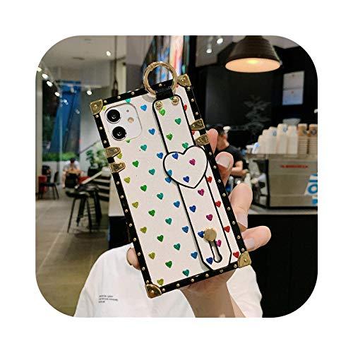 Bling Square Love Heart - Correa de muñeca para iPhone 12 PRO MAX para iPhone 11 Pro Max X XS Max XR 6 6S 7 8 Plus Soft Phone Cover - Blanco - para iPhone 6 6S