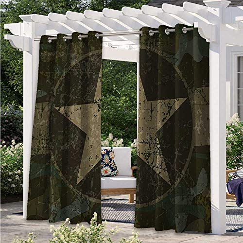Indoor/Outdoor Curtains Grunge Dusty Dirty Design with a Star in Circle Undercover War Theme Thermal Insulated, Blackout Curtains Block Light for Outdoor Movie Nights Army Dark Brown W120 x L96 Inch