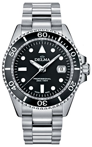 Delma Herrenuhr Quarz schwarz mit Edelstahl Armband 407060