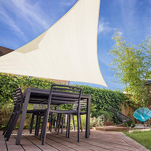 HAIKUS Sonnensegel 5x5x5 Meter Dreieckig, 98% UV Schutz atmungsaktiv Dreieck HDPE Sonnenschutz für Garten Balkon und Terrasse, Creme(5x5x5m)