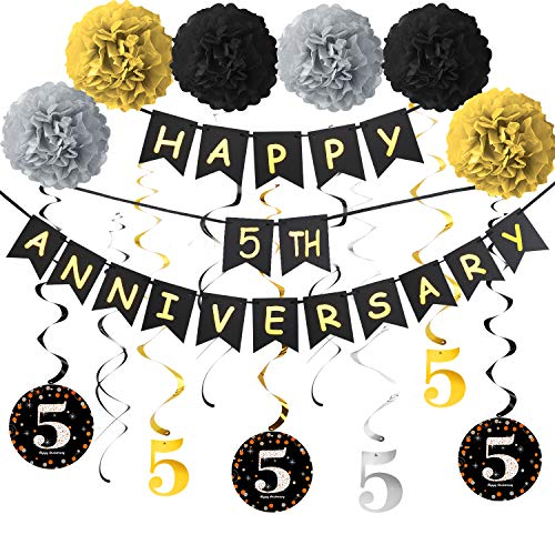 Yoaokiy 5th Anniversary Decorations Kit, 5th Wedding Anniversary Party Decorations Supplies - Including Gold Glitter Happy 5th Anniversary Banner / 9Pcs Sparkling 5 Hanging Swirl / 6Pcs Poms