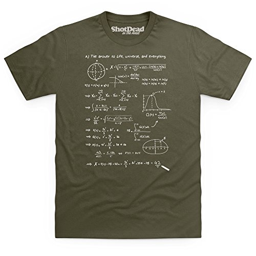Shotdeadinthehead The Answer To Everything T-Shirt, Uomo, Verde Oliva, XL