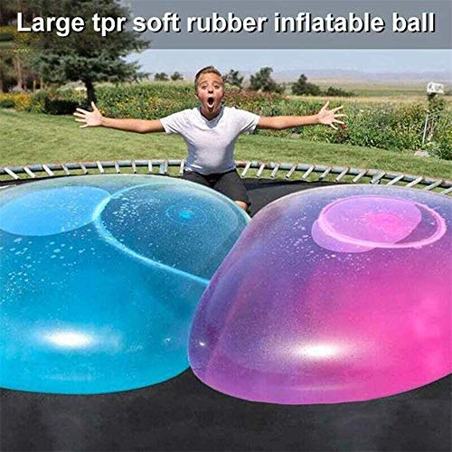 KRY Kids Inflatable Bubble Ball, 120CM Transparent Tear-resistant Bounce Balloon, TPR Inflatable Oversized Ball, Water Balloon, For Children Outdoor Party Game (Blue)
