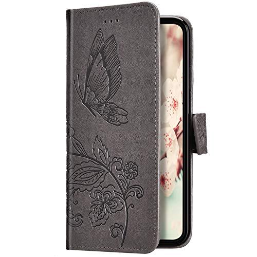 Uposao Kompatibel mit iPhone 6S Plus 5.5 Hülle Schutzhülle Lederhülle 3D Schmetterling Blumen Muster Handyhülle Leder Tasche Brieftasche Klapphülle Flip Case Magnet Kartenfächer,Grau