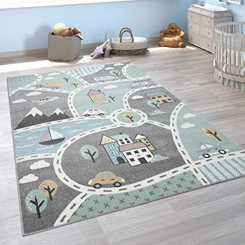 Paco Home Kinder-Teppich Mit Straßen-Motiv, Spiel-Teppich Für Kinderzimmer, In Grün Grau, Grösse:160x220 cm