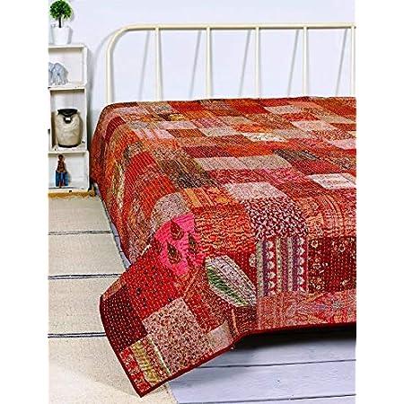 Bedspread Floral Ralli Gudari Quilt QueenTwin Size Kantha Quilt Kantha Blanket Kantha Gudri  Kantha Quilt  Gudri Comforter Quilt Gudari