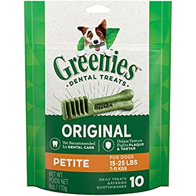 GREENIES Original Petite Natural Dog Dental Care Chews Oral Health Dog Treats, 6 oz. Pack (10 Treats)