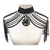 Cadena de hombro Chal de perlas collar de flores cadena de hombro para mujer, joyería para vestidos de novia (color metálico: negro)