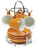 IMUSA USA 8-Piece Espresso Coffee Cup with Chrome Rack Set, Beige Brown, Orange