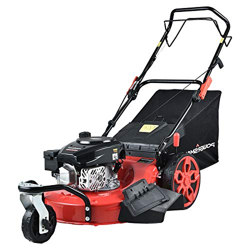 PowerSmart Lawn Mower, 20-inch & 170CC, Gas Powered Self-Propelled Lawn Mower with 4-Stroke Engine, 3-in-1 Gas Mower in Color Red/Black, 8 Adjustable Heights (1.21''-3.15''), PSM2020