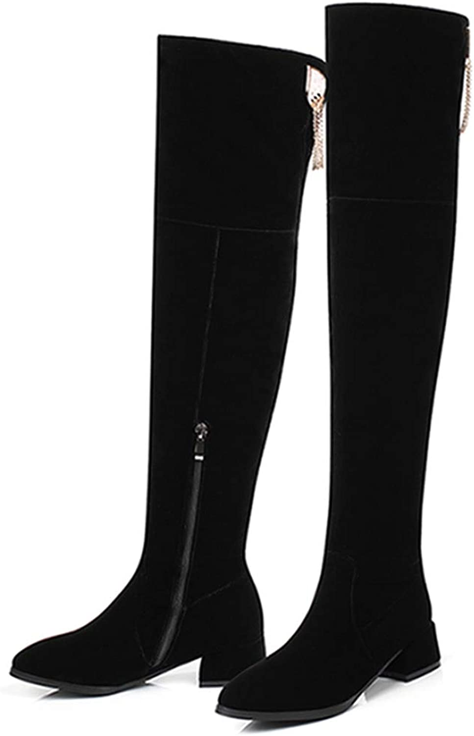 DOSOMI Women's Short Plush Flock Pointed Toe Zipper Square High Heels Over The Knee Thigh High Winter Boots