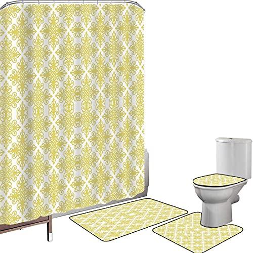 Juego de cortinas baño Accesorios baño alfombras Verde y blanco Alfombrilla baño...