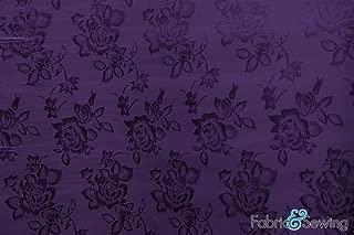 Dark Purple Rose Flower Brocade Jacquard Charmeuse Satin Fabric Polyester 4 Oz 58-60