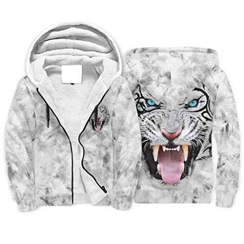 Sudadera con capucha de forro polar de manga larga con diseño de cara de tigre blanca y ajuste clásico para novio o novia o familias
