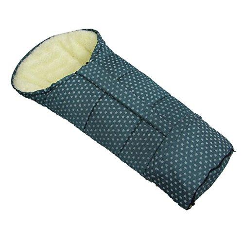 BAMBINIWELT Winterfusssack in Mumienform für Kinderwagen, Jogger, Buggy oder Schlitten, aus Wolle, Größe anpassbar, MUMIE STERNE (olivegrün)