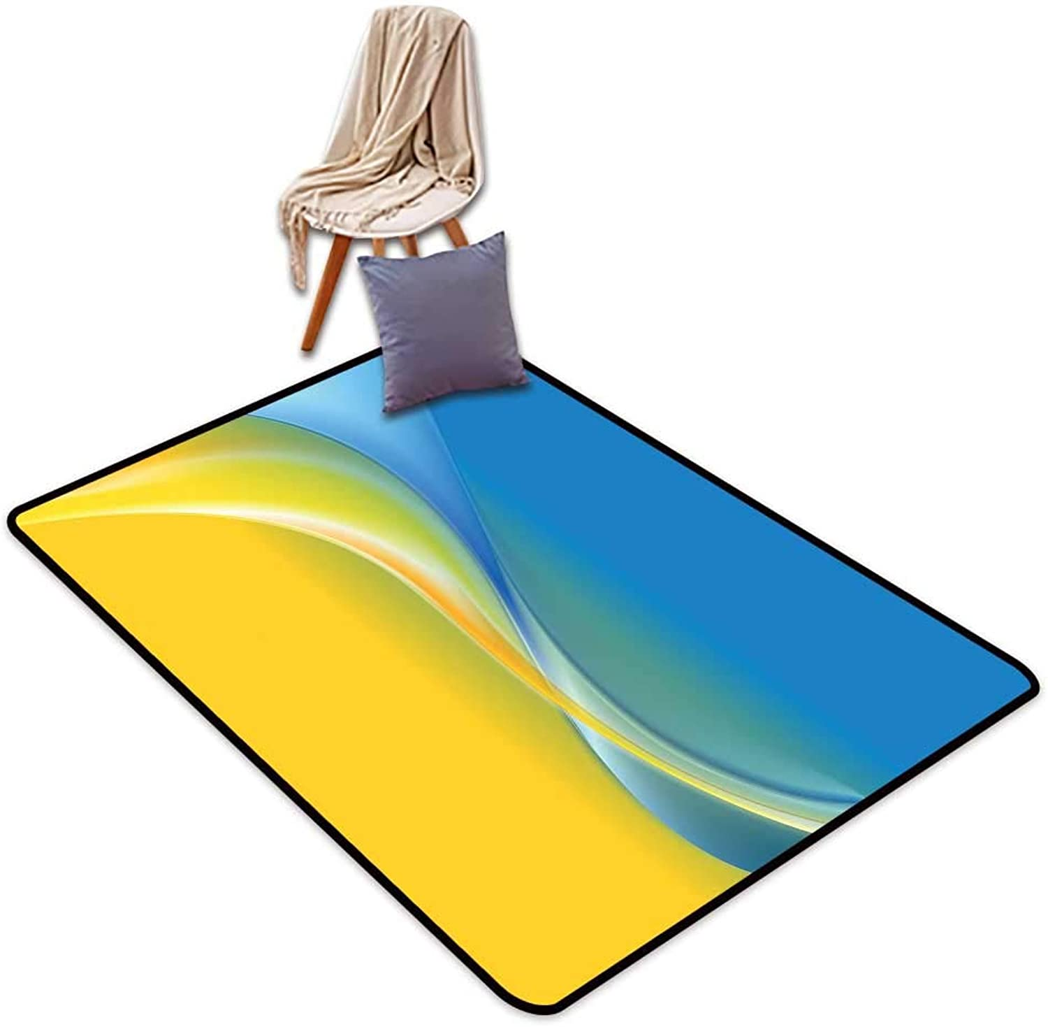 Entrance Door mat Yellow and bluee color Waves Ukrainian Flag Inspired Design in Vibrant colors Curvy Line W4'xL6' Suitable for Family