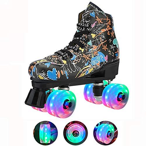 WEDSGTV Classic Graffiti Quad Rollschuhe,LED Blink Rollen Zweireihige Skates,Komfortables Und Atmungsaktives Sneakers Für Mädchen Und Jungen,Black-39