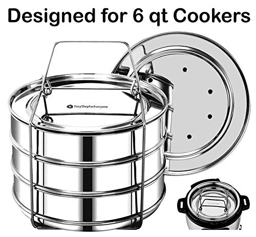 EasyShopForEveryone Stackable Insert Pans, Instant Pot Accessories for 6, 8 Qt Baking, Casseroles & Lasagna Pans, Food Steamer, Pressure Cooker Pot in Pot, Interchangeable Lids, Cook 3 Dishes at once