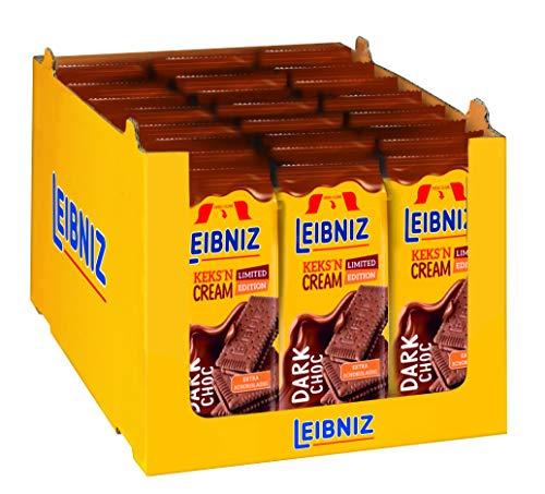 LEIBNIZ Keks'n Cream Dark Choco - Doppelkekse - Vorratskarton mit 21 Packungen - Doppelkakaokekse mit Schoko-Creme Füllung - Limited Edition (21 x 190 g)