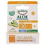 Equilibra Solari Aloe Stick Solare Labbra SPF 30, Stick Labbra a Base di Aloe Vera, Latte di Mandorle, Opunzia e Vitamina E, Protegge, Idrata e Rinfresca le Labbra, Water Resistant, 5.5 ml