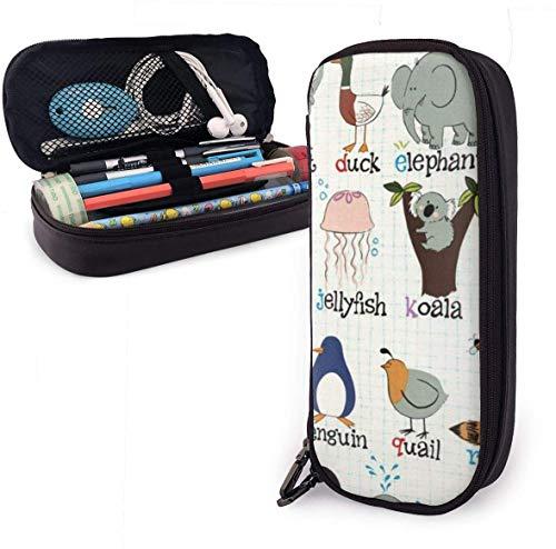 Cartoon Animal Name Cute Pen Pencil Case Leather 8 X 3.5 X 1.5 Inch Big Capacity Double Zippers Pencil Pouch Bag Pen Holder Box for School Office Girls Boys Boys