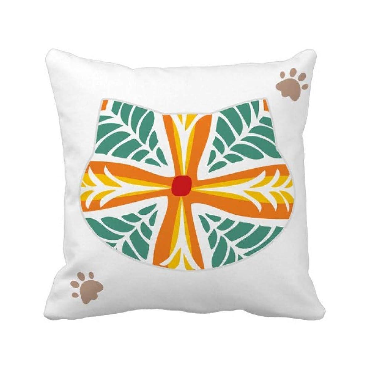 実行枯渇するベル花のパターンメキシコトーテムの古代文明の描画 枕カバーを放り投げる猫広場 50cm x 50cm