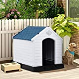 PETSJOY Dog House Waterproof with Elevated Floor and Air Vents Plastic Pet Dog Shelter Weatherproof for Indoor Outdoor Use (Small)