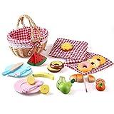 BeebeeRun Picknickkorb Spielzeug, Küchenspielzeug aus Holz, Kinderküche Zubehör mit Picknickmatte, Schneiden Sie Obst Dessert, Kinder Rollenspiel Lernspielzeug Geschenk für Mädchen Jungen 3 Jahre+
