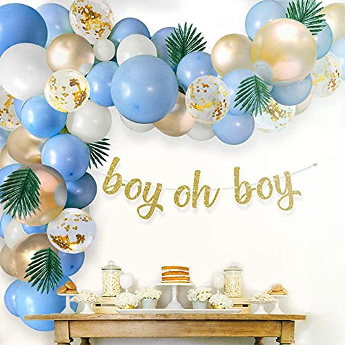 Qyaml Kit De Arco De Globos De Oro Blanco Azul, con Globos De Látex, Globos De Confeti, Pancarta para Suministros De Decoración para Fiestas De Cumpleaños De Niños