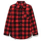 Kids Long Sleeve Boy's Girl's Plaid Flannel Button Down Shirt Red Black 10