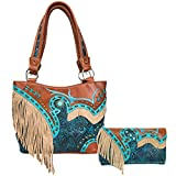 Zelris Women Tote Handbag Wallet Set Turquoise Concho Suede Fringe Two Tone Cowgirl Concealed Carry Purse (Turquoise Brown)