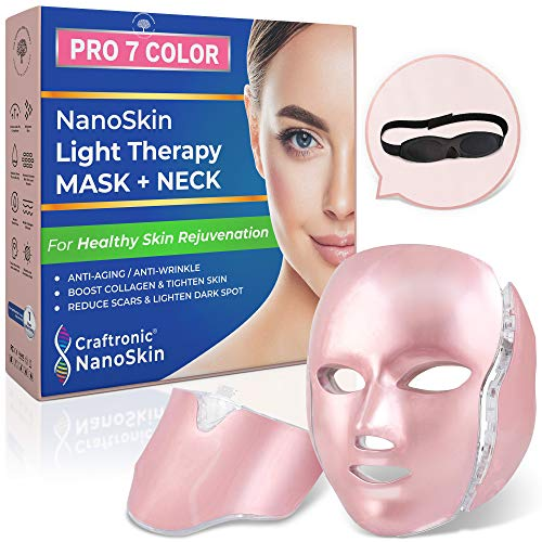 CRAFTRONIC NanoSkin CE-Cleared Pro 7 Color   LED Mask Skin Care Photon Electric Light Therapy   For Healthy Face & Neck Skin Rejuvenation   Clinically Tested Home & Salon Aesthetic Mask (Rose Gold)