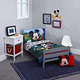 Disney Mickey's Big Adventure Blue, Red, Yellow & Green 4Piece Toddler Bed Set - Comforter, Fitted Bottom Sheet, Flat Top Sheet, Reversible Pillowcase, Blue, Red, Yellow, Green