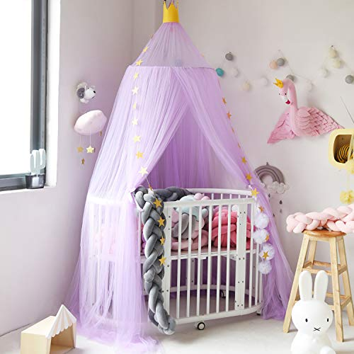Jolitac Princess Bed Canopy for Kids Room Decor Round Lace Mosquito Net Play Tent Baby House Canopys Yarn Girls Dome Netting Curtains Girls Games House Pink Castle (Purple)