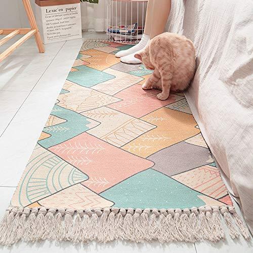 SWNN Carpet Im Japanischen Stil Baumwolle Handgewebte Teppiche Wohnzimmer Schlafzimmer Häusliche Umgebung Lange Quaste Rutschmatten Bedside (60 * 150cm)