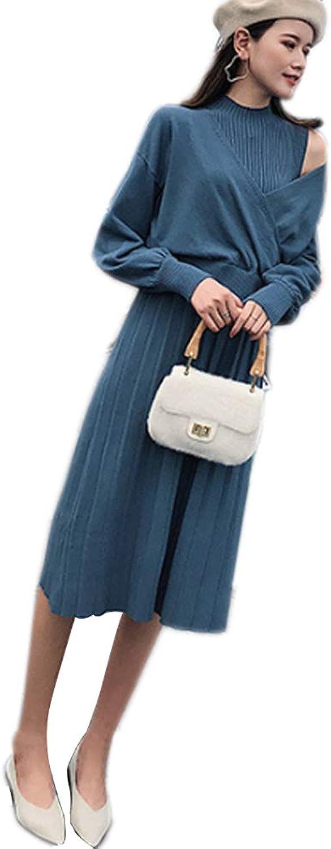 QJKai Women's Winter Knit Skirt Loose Raglan Sleeves Vest Skirt Knit TwoPiece
