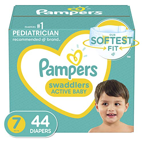 Diapers Size 7, 44 Count - Pampers Swaddlers Disposable Baby Diapers, Super Pack (Packaging May Vary)