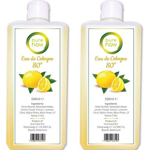 2x 500ml Pure Now Eau de Cologne - 80% Alkohol Desinfiziert Duftwasser mit Zitronen Extrakt, Kölnischwasser, Limon Kolonya 2x 500ml