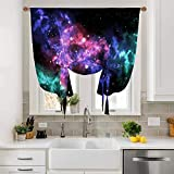 Orion Blackout Valance Curtains, Tie Up Curtain Rod Pocket for Bedroom & Dining Room Window, for Small Window, 42' Wide by 63' Long, Star Space Area Astronomy