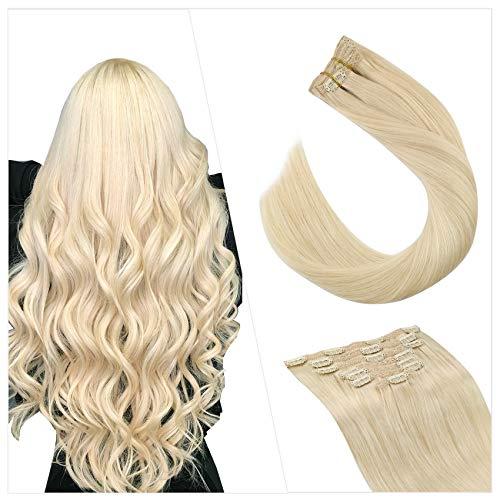 Ugeat Cheveux Humain a Clip Vrai Naturels 14 Pouce Extensions Cheveux Naturels à Clips Tête Entière 100G 7PCS Extension A Clip Cheveux Naturel Blond Platine #60