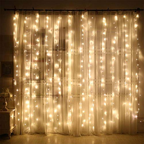 Lifechange Window Curtain Lights Curtain LED Lights,200LED USB Powered Copper Wire Fairy Lights Remote 8 Modes Twinkle Lights for Christmas Tree Kids Bedroom Wedding Holiday Wall Decor