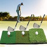 YOMERA Alfombra de práctica de Golf, Alfombrilla para Putt de Golf, Plegable, 24 x 12, Alfombrilla para césped 3 en 1, Base de Goma Resistente para astillar, Conducir y Entrenar