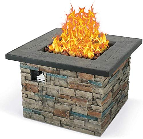 Lowest Price! AMKV Outdoor Propane Gas Burning Fire Pit, Square Stonecrest Patio Fire Table 50,000 B...