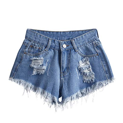 2020 Summer Womens Fringed Pockets Hole Jeans Plus Size Denim Pants Female High Waist Slim Sexy Shorts (Blue 4XL)