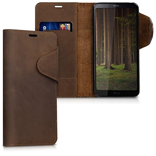 kalibri Wallet Case Compatible with LG G6 - Genuine Leather Book Style Protective Cover with Card Slot - Brown