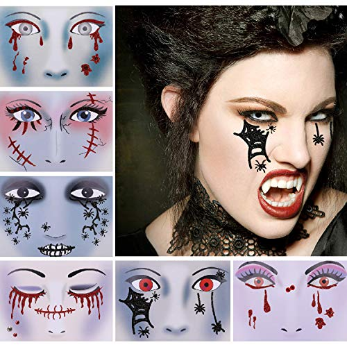 Halloween Glitter Face Temporary Tattoos (6 Pack), Konsait Day of the Dead Bloody Scars Black Spider Face Tattoo Sticker for Women Men Adult Kids Masquerade Halloween Party Favor Supplies